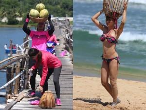 Hương Giang bối rối chăn vịt và diện bikini bắt bóng