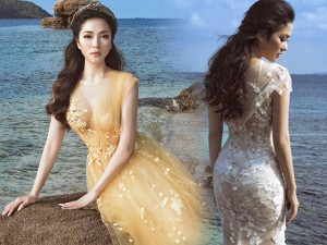 Hoa hậu Nguyễn Thị Huyền đẹp như nữ thần bên bờ biển