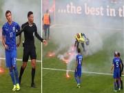 Bóng đá - Nghi án CĐV Croatia ném pháo, cố ý muốn đội nhà bị loại