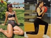 """Quỳnh Anh Shyn khoe vòng eo  """" con kiến """"  khi đi tập gym"""