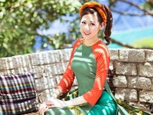 """Thời trang - Á hậu Tú Anh """"hóa"""" cô Tấm với áo dài dân tộc"""