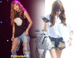 """Thời trang jean - Soi thời trang quần """"cái bang"""" của sao Hàn"""