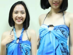 Thời trang - 6 cách quấn khăn sarong thành váy đi biển quyến rũ
