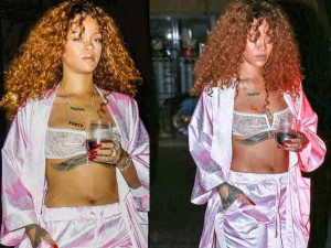 Đồ lót - đồ bơi - Rihanna phanh áo ngoài khoe nội y trong suốt sexy