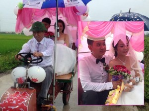 """Giới trẻ - Màn rước dâu bằng """"xe mui trần"""" độc đáo ở Nghệ An"""
