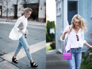 Sơ mi trắng và quần jeans đã bao giờ lỗi mốt?
