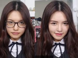 """Nữ sinh Hàn Quốc xinh như hoa sau 2 phút  """" biến hình """""""