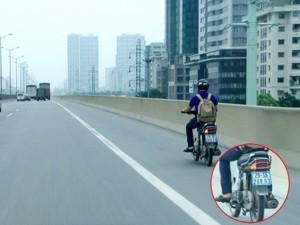 Tin tức Việt Nam - Phạt nguội nam thanh niên đi xe máy vào đường cao tốc trên cao