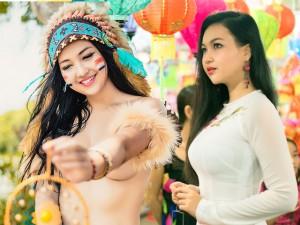 """Bạn trẻ - Cuộc sống - """"Nữ thổ dân"""" xinh đẹp dạo phố Trung thu Sài Gòn"""