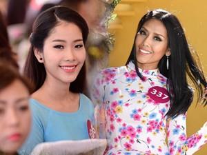 Thời trang - Top 45 Hoa hậu Hoàn vũ VN tha thướt áo dài ở Đà Lạt