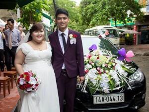 Bạn trẻ - Cuộc sống - Cặp đôi cô dâu hơn chú rể 30kg rạng rỡ trong ngày cưới