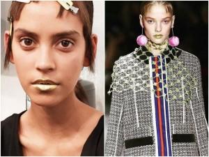 Thời trang - Prada gây ngỡ ngàng với người mẫu tô son vàng óng