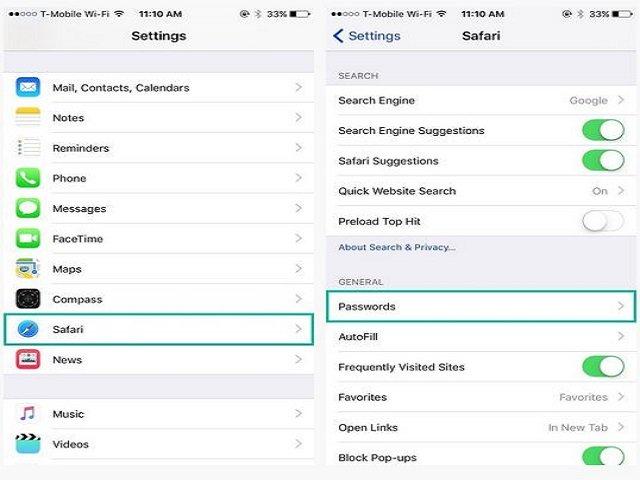 Xem password đã lưu trên trình duyệt Safari của iPhone, iPad