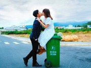 Bạn trẻ - Cuộc sống - Cặp đôi Vũng Tàu chụp ảnh cưới bên thùng rác