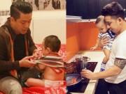 """Đời sống Showbiz - 2 ông bố """"bỉm sữa"""" đảm đang nhất showbiz Việt"""