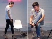 Bạn trẻ - Cuộc sống - Clip: Thanh niên khốn đốn lần đầu đi giày cao gót