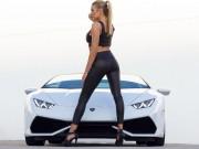 """Ảnh người đẹp và xe - Quý cô sexy """"thuần hóa"""" siêu bò Lamborghini Huracan"""
