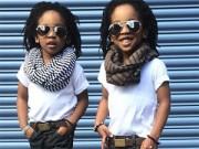 Thời trang - Cặp song sinh 3 tuổi gây bất ngờ vì quá sành điệu