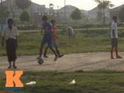 Bóng đá - Thanh niên Myanmar mặc váy đá bóng cạnh...đàn trâu
