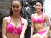 Thời trang - Thí sinh Hoa hậu VN mặc bikini đua sắc bên suối