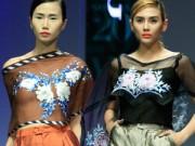 Thời trang - Mẫu Việt gợi cảm với áo lụa thêu tay