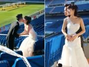 Bạn trẻ - Cuộc sống - Ảnh cưới của cặp đôi Việt tại sân bóng Bernabeu