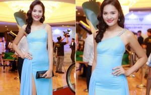 Váy - Đầm - Hoa hậu Hương Giang gợi cảm với váy xẻ cao