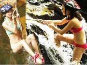 Người mẫu - Hoa hậu - Thí sinh hoa hậu mặc bikini đu dây qua suối
