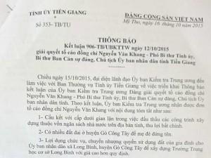 Tin tức trong ngày - Công bố kết quả xác minh đơn tố cáo Chủ tịch Tiền Giang