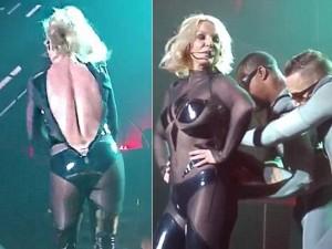 Britney Spears luống cuống vì toạc áo liền quần