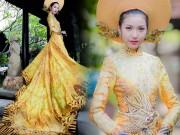 Váy - Đầm - Váy hot nhất tuần: Áo dài đính rồng 1m2 của Thúy Vân