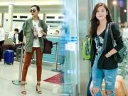 Thời trang - Sao Việt sành điệu với giày bệt, jeans rách ở sân bay