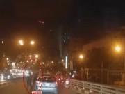 Video An ninh - Clip: Taxi bị truy đuổi trước khi gây tai nạn trên cầu vượt