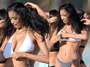 """Đời sống Showbiz - Bạn gái Justin Bieber """"đánh vật"""" với áo bikini quá bé"""