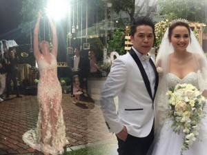 Cô dâu Diễm Hương rạng rỡ nhờ váy cưới xuyên thấu