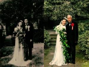 Bạn trẻ - Cuộc sống - Cặp đôi tái tạo ảnh cưới nhân kỷ niệm 70 năm ngày cưới