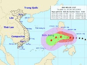 Giật trên cấp 17, siêu bão Melor có thể đổi hướng