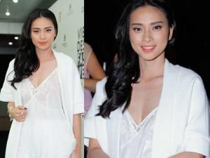 Thời trang - Ngô Thanh Vân khoe khéo vòng 1 dưới lớp áo mỏng manh