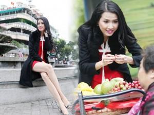 Người mẫu - Hoa hậu - Khoảnh khắc: Phan Thị Mơ váy mỏng dạo phố mùa đông