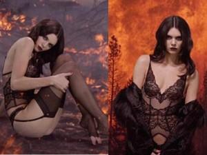 Thời trang - Kendall Jenner diện nội y sexy giữa khu rừng đỏ lửa