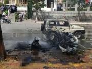 [Nóng] Nổ xe taxi ở Quảng Ninh, 2 người tử vong