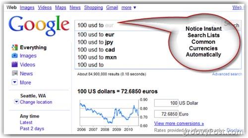Cách chuyển đổi tỉ giá ngoại tệ với Google - 1