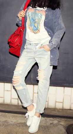 Mẹo mặc quần jeans rách tới công sở - 8