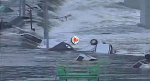 """Video sóng thần """"nuốt"""" hàng trăm ô tô tại Nhật - 1"""