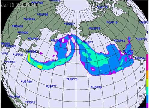 Hình ảnh mây phóng xạ phát tán từ Nhật - 1