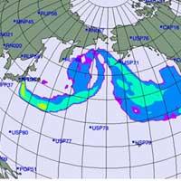 Hình ảnh mây phóng xạ phát tán từ Nhật