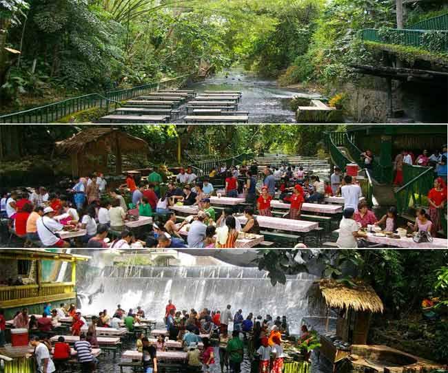 Kinh ngạc nhà hàng thác nước, Phi thường - kỳ quặc, Nha hang  doc dao, Nha hang ki la, Nha hang thac nuoc,Villa Escudero Resort,Philippines, Chuyen la, Chuyen la the gioi