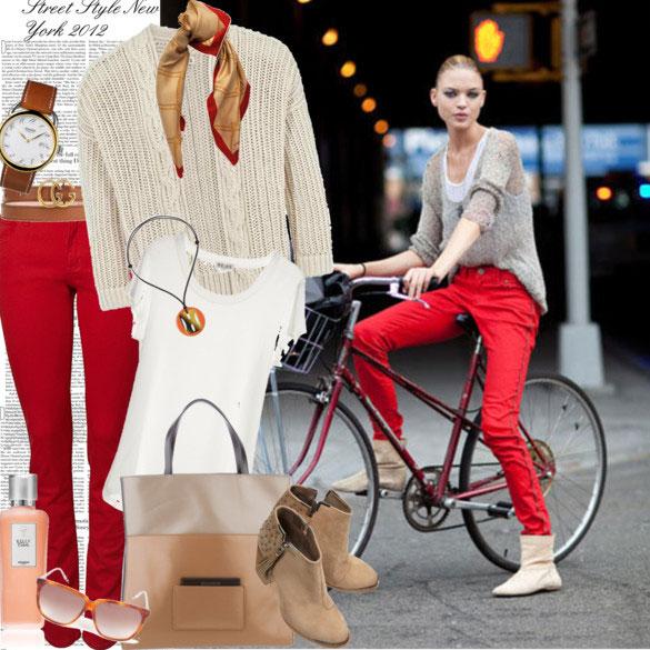 7 cách mặc đẹp với quần denim đỏ sành điệu - 6