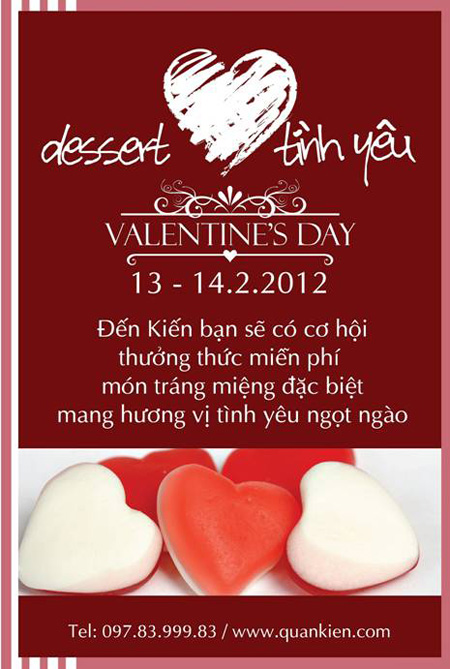 Qun Kin tng Dessert tnh yu cho ngy Valentine, Nh hng c sn, m thc, 