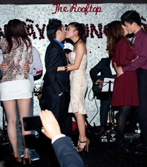 Lê Hiếu - Mai Hương công khai hôn nhau - 1